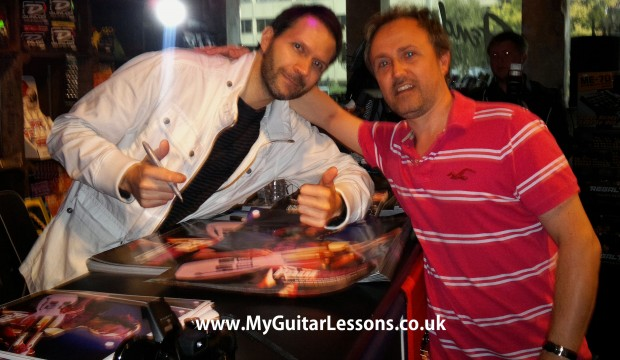 Paul Gilbert and Simon from My Guitar Lessons